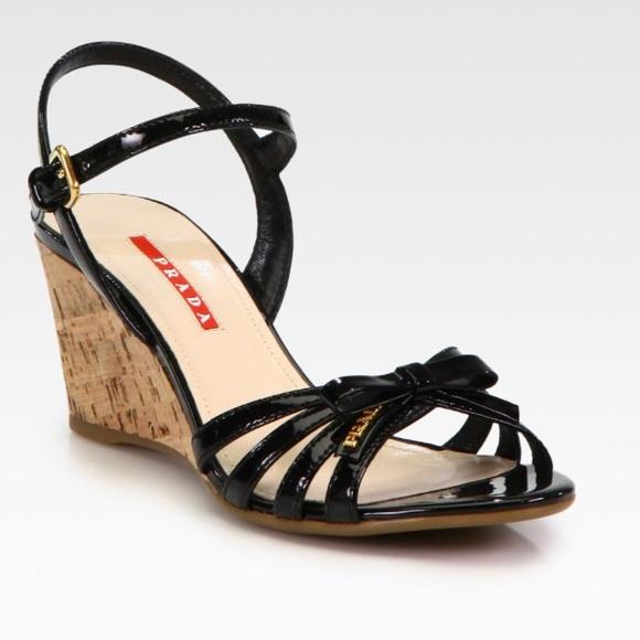 839e297bb73 Prada Leather Bow Cork Wedge Sandals. M 5b302ee7534ef96daa94e7f6